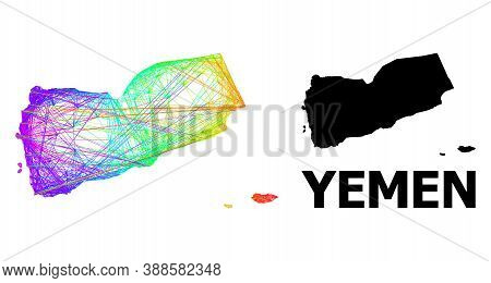 Net And Solid Map Of Yemen. Vector Model Is Created From Map Of Yemen With Intersected Random Lines,