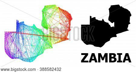 Network And Solid Map Of Zambia. Vector Structure Is Created From Map Of Zambia With Intersected Ran