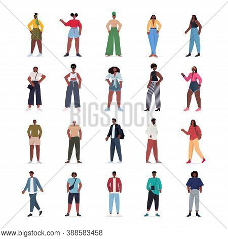 Set Young Women Men In Casual Trendy Clothes African American Male Female Cartoon Characters Collect