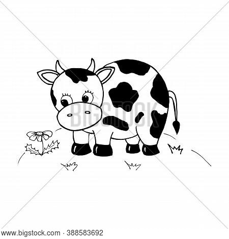 Cow. Cute Cow In The Meadow. Character In Cartoon Style. Black And White Drawing Isolated On A White