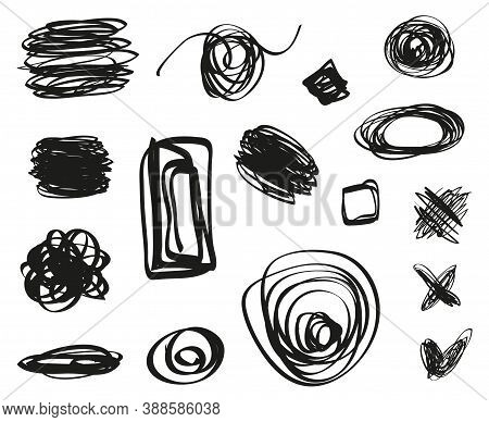 Hand Drawn Hatchings On White. Sketch Hatching. Abstract Sketches. Scrawl Elements. Black And White