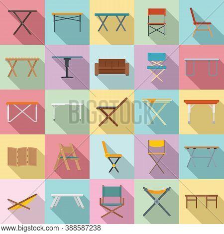 Folding Furniture Icons Set. Flat Set Of Folding Furniture Vector Icons For Web Design