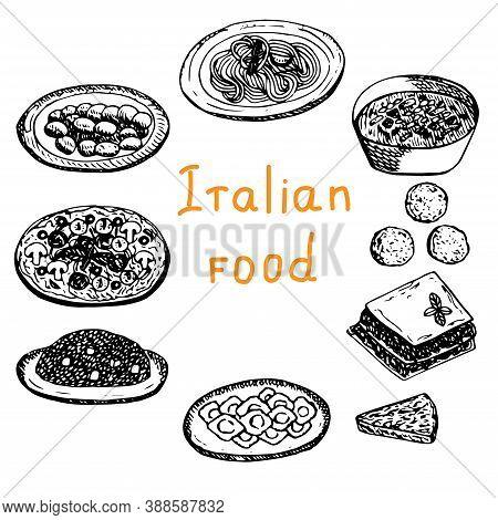 Set Of Italian Food Vector Illustration Gnocchi Pasta Minestrone Arancini Lasagna Frittata Pizza Ris