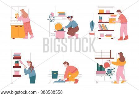 Man And Woman Characters Clean Home And Do Household Work. Vector Illustration Set Of People Cleanin