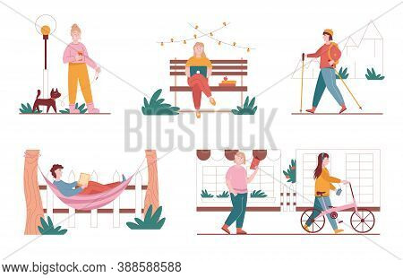 Vector Set Of City Park Situation Illustrations. Woman And Man Characters Walking In A Park, Work Wi