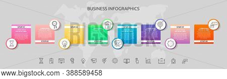 Infographics Circles With 8 Steps, Squares. Vector Template Used For Diagram, Business, Web, Banner,