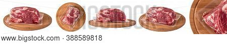 Packaged Pork Meat On A Round Wooden Board Isolated On White Background.  Set Of Different Photos Fo
