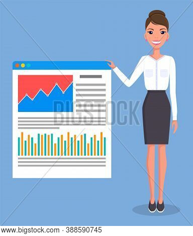 Smiling Young Woman Gives A Report, Businesswoman Standing Near Demo Poster With Performance Charts