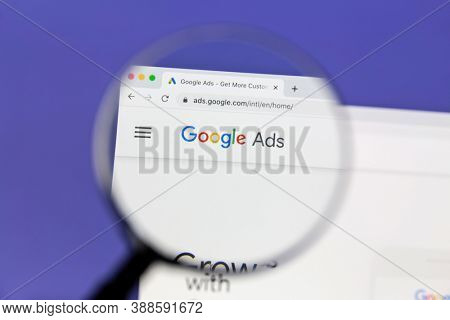 Ostersund, Sweden - October 7, 2020 Google Ads hemepage under a magnifying glass. Google Ads is an online advertising platform developed by Google.