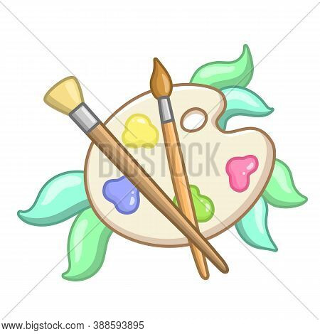 Cute Icon Of Artist's Palette. Vector Image Of Palette With Paint And Two  Brushes And Decorative Le