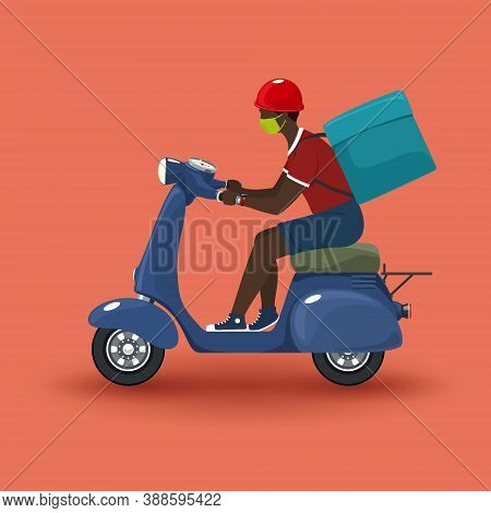 Young African Guy In Protective Face Mask With Box For Food Delivery Rides A Scooter, Blue Vintage S