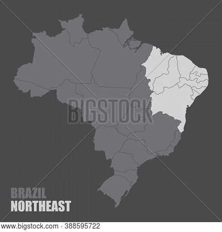 The Brazil Map With The Highlighted Northeast Region