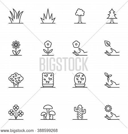 Nature Plants Line Icons Set, Outline Vector Symbol Collection, Linear Style Pictogram Pack. Signs,