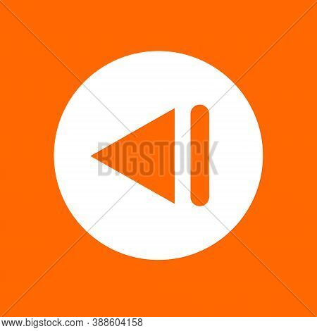 Previous Track Sign Icon. In White Circle On A Orange Background.