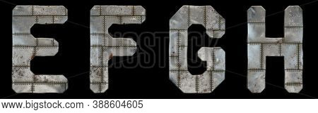Set of capital letters E, F, G, H made of industrial metal isolated on black background. 3d rendering