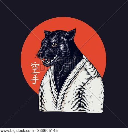 Black Panther And Bee Biker And Red Sun. Japanese Text Means: Karate. Fashion Animal Character. Hand