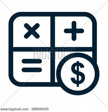 Counting Cash Icon. Mathematical Formula Symbols And Dollar Sign. Cash Calculation Line Label. Budge