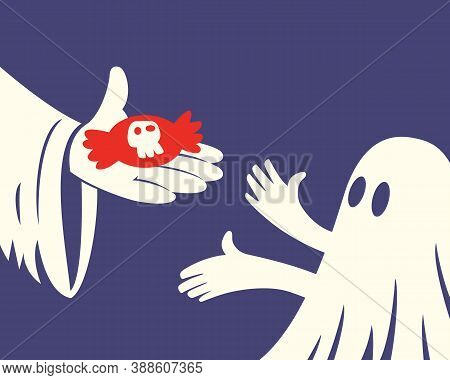 Close Up Of Hand Holding Red Halloween Candy And A Children With White Ghost Costume On Purple Backg