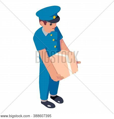 Postman Parcel Box Delivery Icon. Isometric Of Postman Parcel Box Delivery Vector Icon For Web Desig