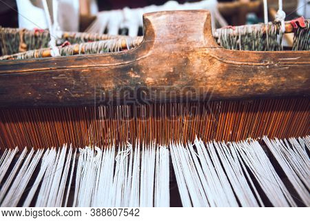 Traditional Hemp Loom . Ancient Device Used To Weave Cloth And Tapestry In Ancient