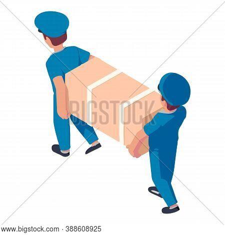 Two Postman Delivery Fridge Icon. Isometric Of Two Postman Delivery Fridge Vector Icon For Web Desig