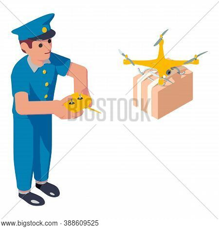 Postman Drone Parcel Delivery Icon. Isometric Of Postman Drone Parcel Delivery Vector Icon For Web D