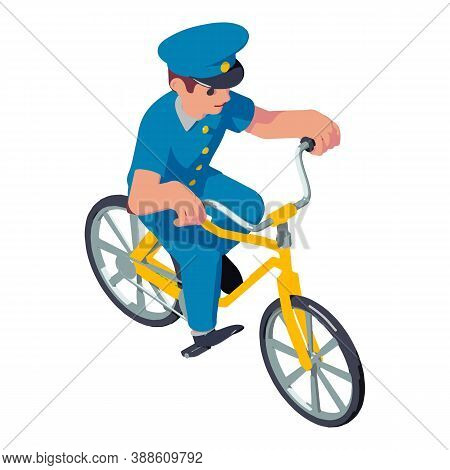 Postman Ride Bike Icon. Isometric Of Postman Ride Bike Vector Icon For Web Design Isolated On White