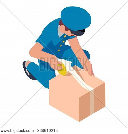 Postman Packing Parcel Icon. Isometric Of Postman Packing Parcel Vector Icon For Web Design Isolated