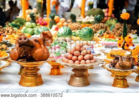 Divine Offerings In Hinduism. Offer The Sacrifices Such Food, Tea And Spirit To The Ancestors. Sacri