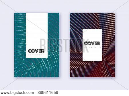 Hipster Cover Design Template Set. Red White Blue Abstract Lines On Dark Background. Classy Cover De