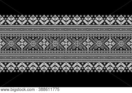Vector Illustration Of Ukrainian Folk Seamless Pattern Ornament. Ethnic Ornament. Border Element. Tr