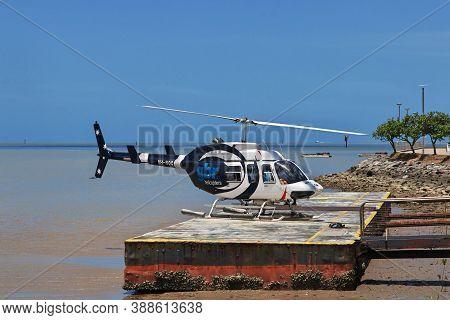 Cairns, Queensland, Australia - 03 Jan 2019: The Helicopter In Cairns City, Queensland, Australia
