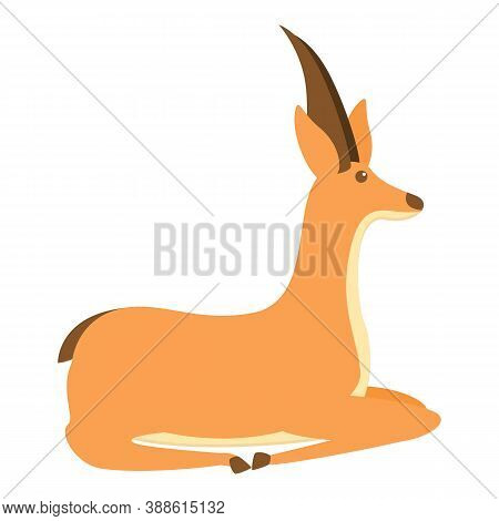 Resting Gazelle Icon. Cartoon Of Resting Gazelle Vector Icon For Web Design Isolated On White Backgr