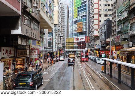 The Tram Across The Sai Ying Pun , Hong Kong 18 Sept 2020