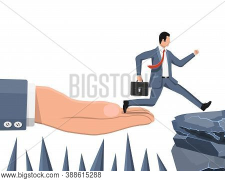 Businessman Jumps To Goal Through Abyss With Thorns. Business Man Jump Between Gap. Obstacle On Road