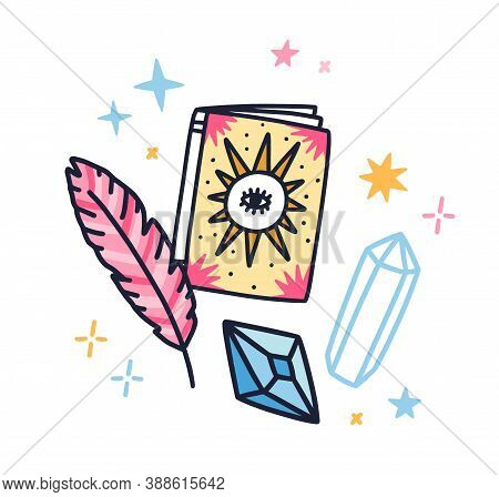 Composition Of Magical Stuff With Design Elements Vector Flat Illustration. Doodle Mystic Book With