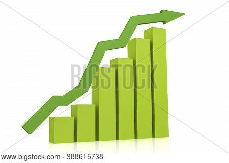 Green Upward Arrow With Bar Chart, 3d Rendering