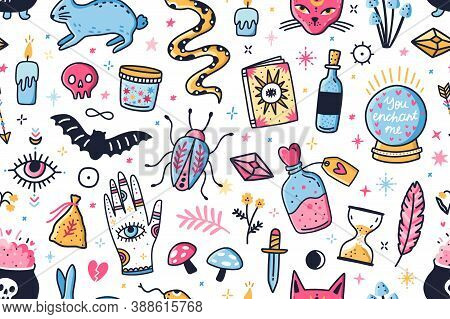 Mystical And Magical Elements Seamless Pattern. Colorful Astrology Or Wizardry Characters And Symbol