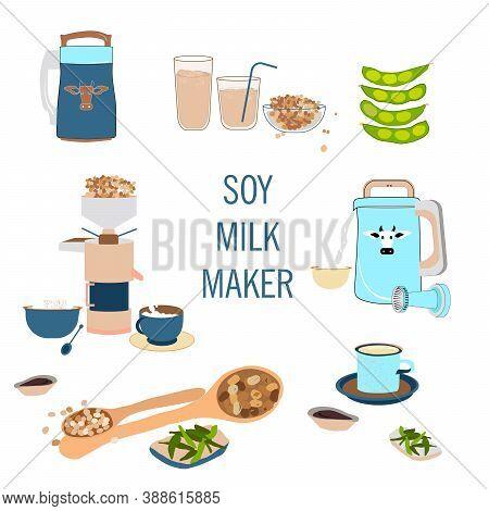 Soy Milk Maker Or Soy Cow Hand Drawn Doodle Vector Set. Organic Drink, Vegan Milk,soybeans, Vegan Pr