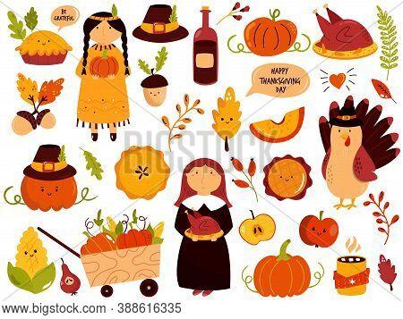Big Set Of Thanksgiving Symbols Turkey, Pie, Pumpkin, Corn, Sweets
