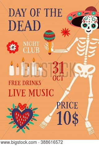 Day Of The Death Theme Party Promo Poster With Place For Text Vector Flat Illustration. Announcement
