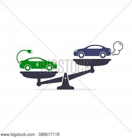 Electric Car Versus Gasoline And Diesel Car On Scales Icon Vector. Comparison Between Electric Envir