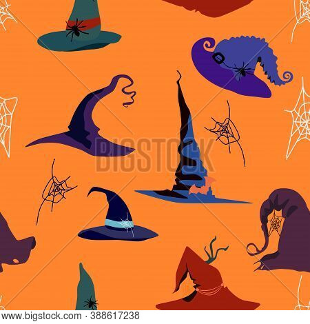 Halloween Seamless Pattern With Witch Pointed Hats Of Different Styles.decor In The Form Of A Spider