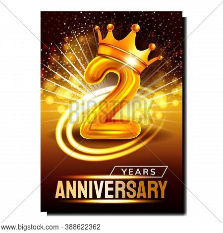 Two 2 Years Anniversary Promotional Banner Vector. Golden Crown On Number And Sparkling Lights, Seco