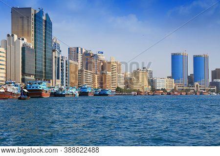 Dubai, Uae - December 9, 2017: Dhow Wooden Cargo Ships Moored At Dubai Creek Port In Uae. Dubai Is T