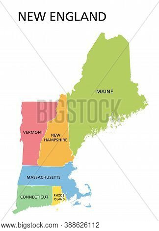 New England Region, Colored Map. A Region In The United States Of America, Consisting Of The Six Sta