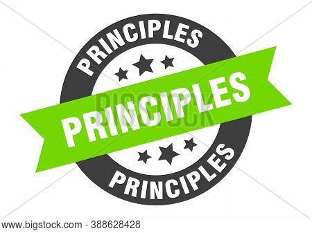 Principles Sign. Round Ribbon Sticker. Isolated Tag