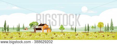 Spring Landscape In Village With Copy Space, Vector Illustration Flat Design Rural Landscape In Coun