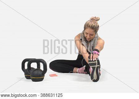 White Background Studio, Muscular Woman, Kettlebell, Workout