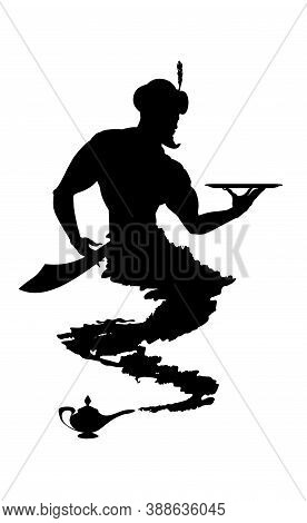 Silhouette Helpful Genie From Arabic Lamp. Detailed Contour Black. Vector Isolated Illustration.